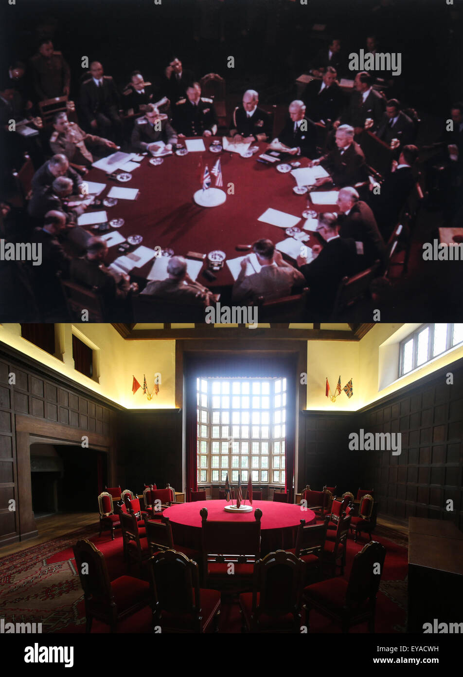 (150725) -- POTSDAM, July 25, 2015 (Xinhua) -- Combo photos show an reshot file photo of a view of the Potsdam Conference - Stock Image