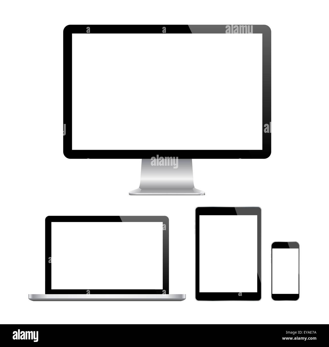 Modern monitor, computer, laptop, phone, tablet - Stock Image
