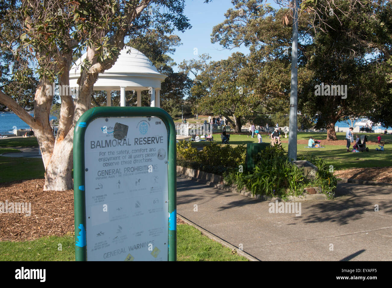 Balmoral Reserve at Balmoral Beach suburb in Sydney,new south wales,australia - Stock Image