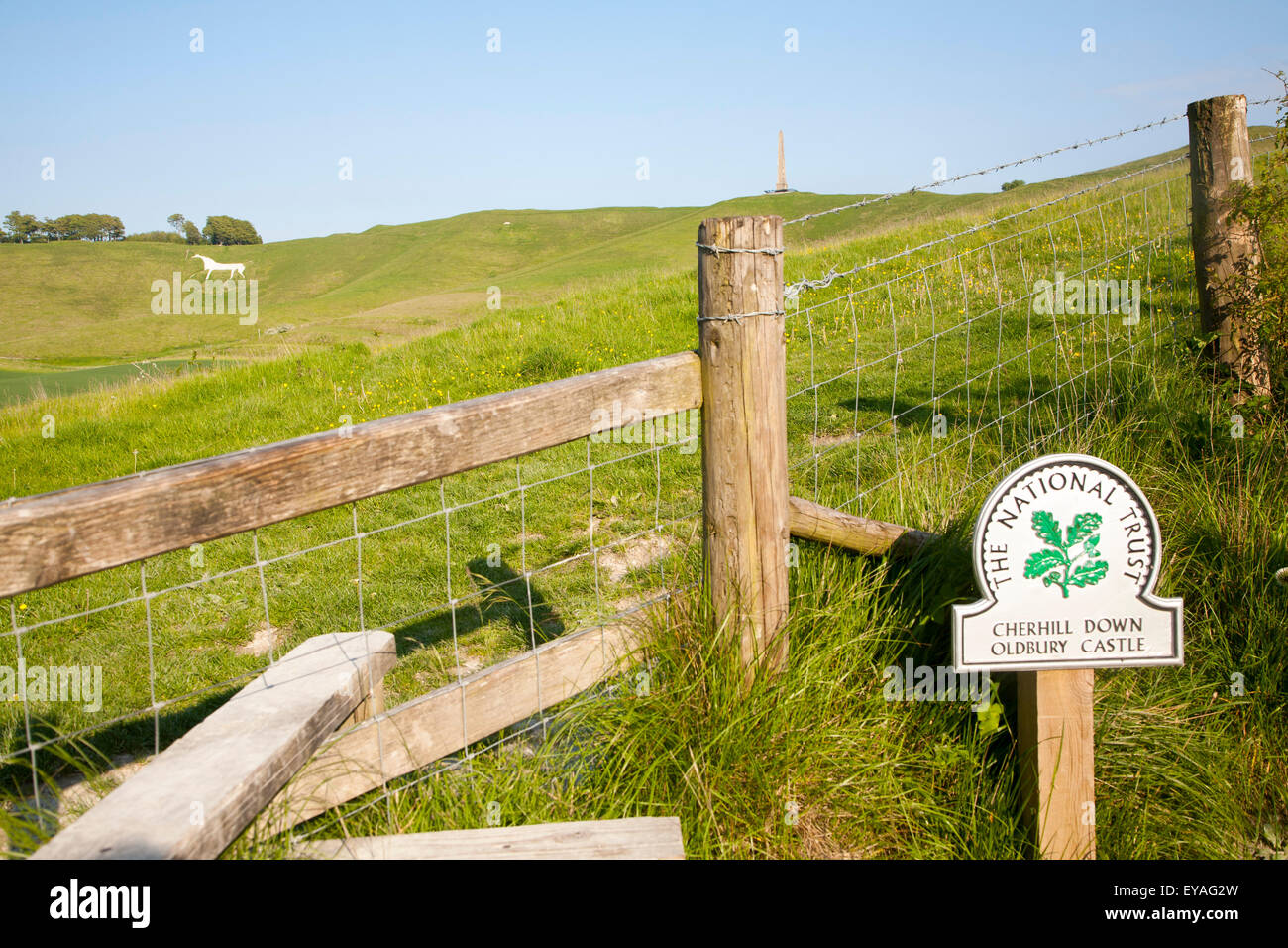 National Trust sign Cherhill Down and Oldbury Castle with Lansdowne monument, Cherhill, Wiltshire, England, UK Stock Photo