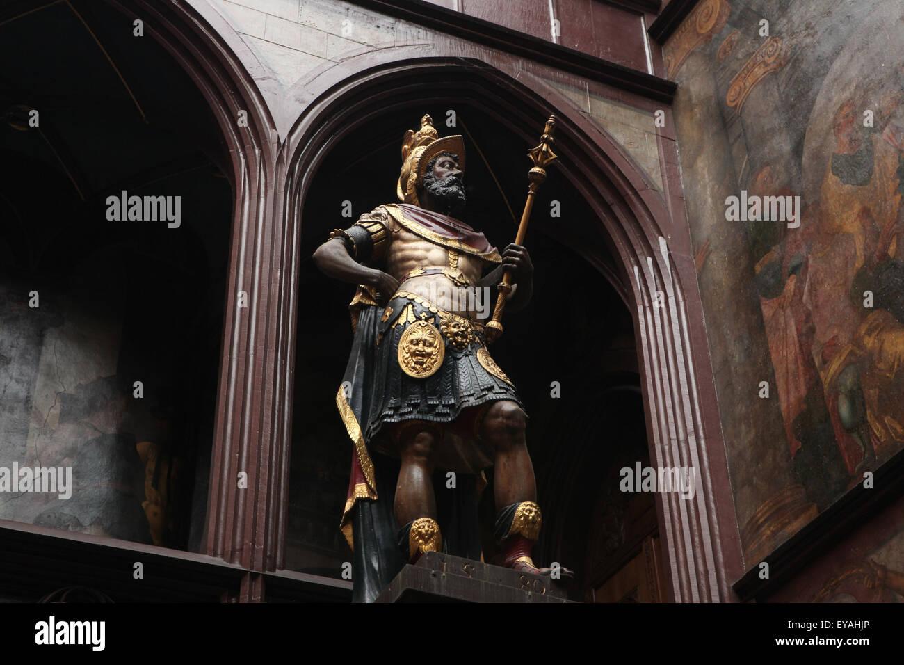 Coloured statue of Roman consul Lucius Munatius Plancus in the atrium of the Rathaus Basel in Basel, Switzerland. Stock Photo