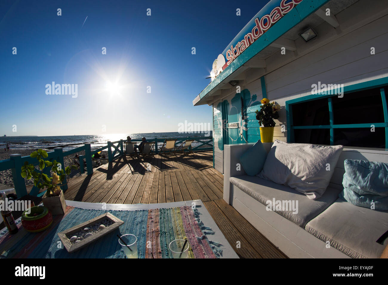 Strandoase Beachbar at Baltic Sea in Germany, Mecklenburg - Vorpommern. - Stock Image