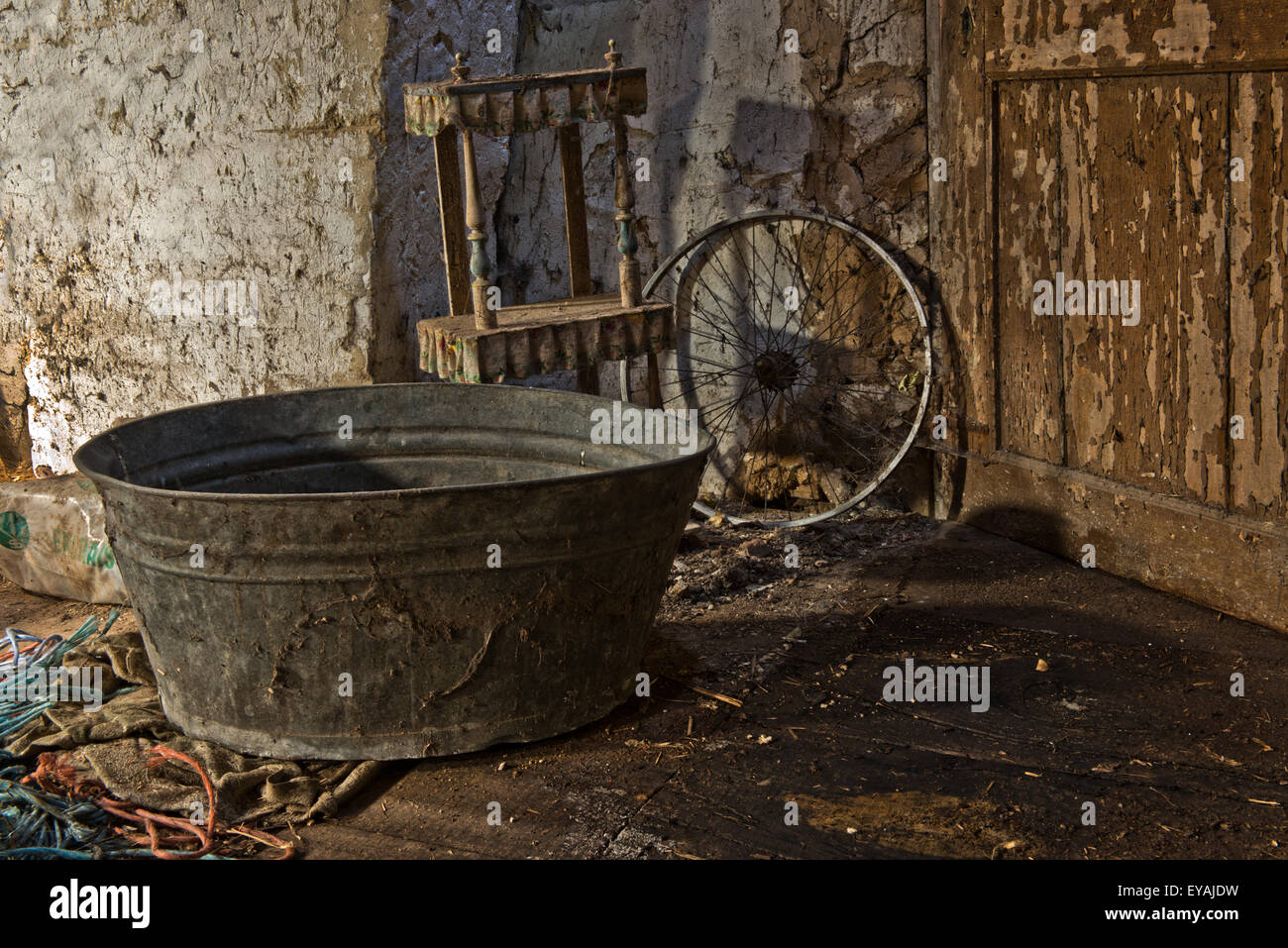 Urban Explore of an abandoned farmstead in Belgium which still has most of its features and furniture. - Stock Image