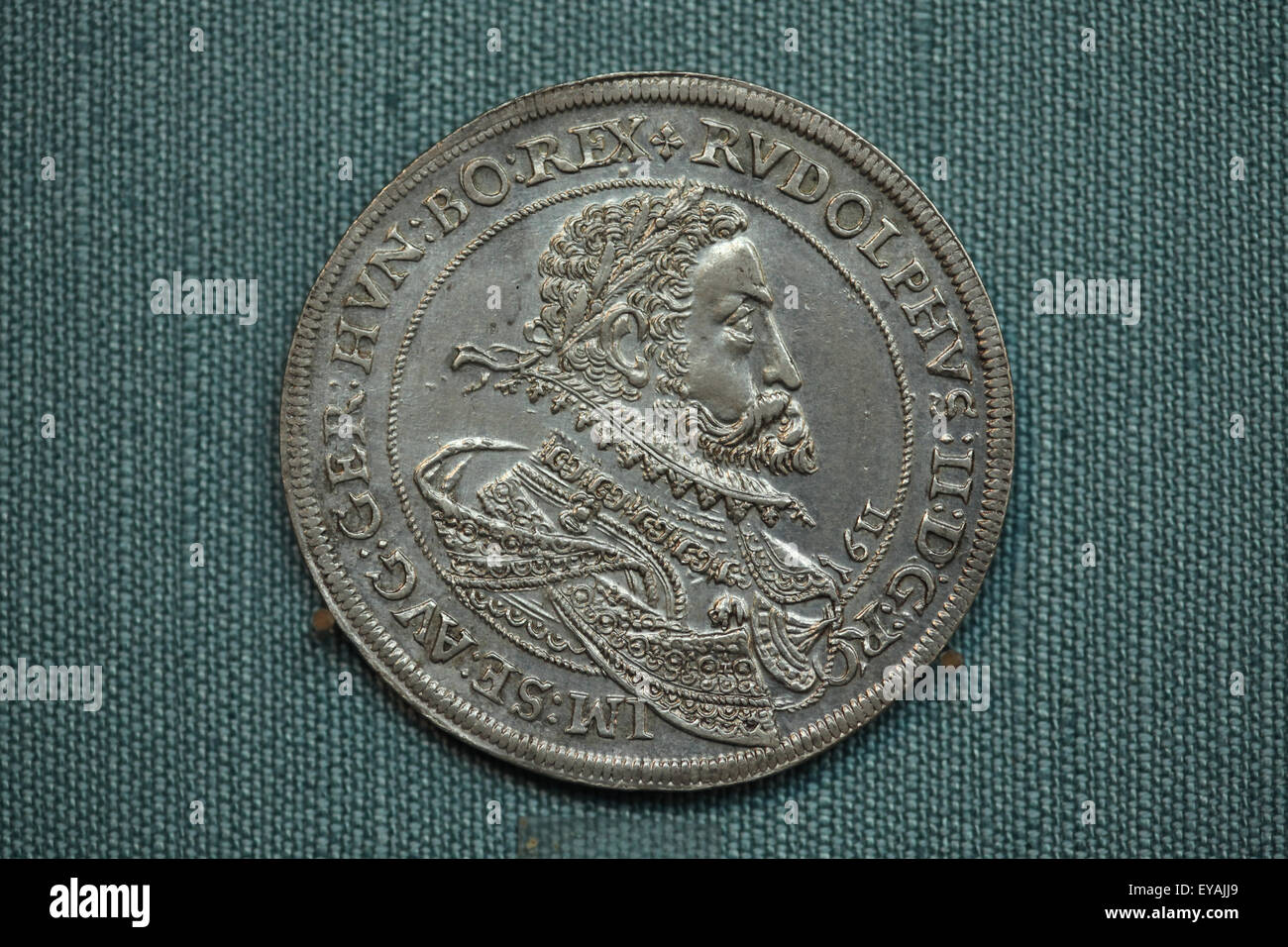Thaler of Emperor Rudolf II. Silver coin minted in the reign of Holy Roman Emperor Rudolf II in Ensisheim (1611). - Stock Image