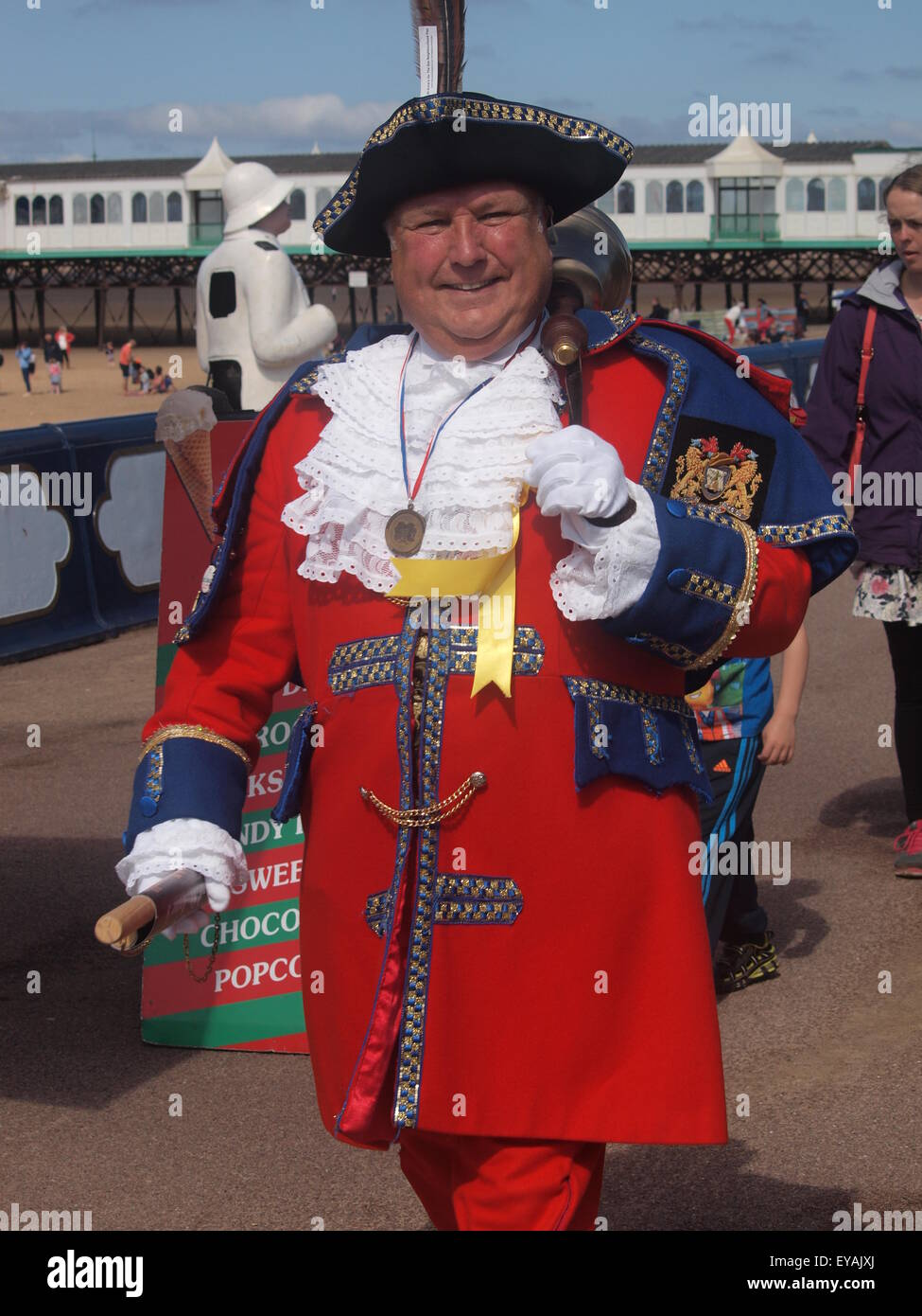 St. Annes,  Lancashire, UK:  Town Crier announces opening of Kite Festival. - Stock Image