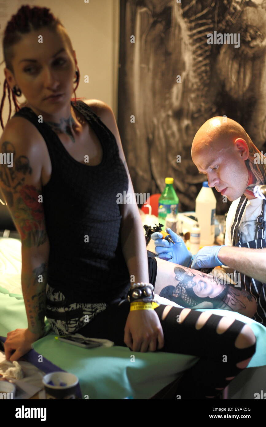 Gdansk, Poland 25th, July 2015 Gdansk Tattoo Konwent 2015 kicks off in Amber Expo hall. During two day long event - Stock Image