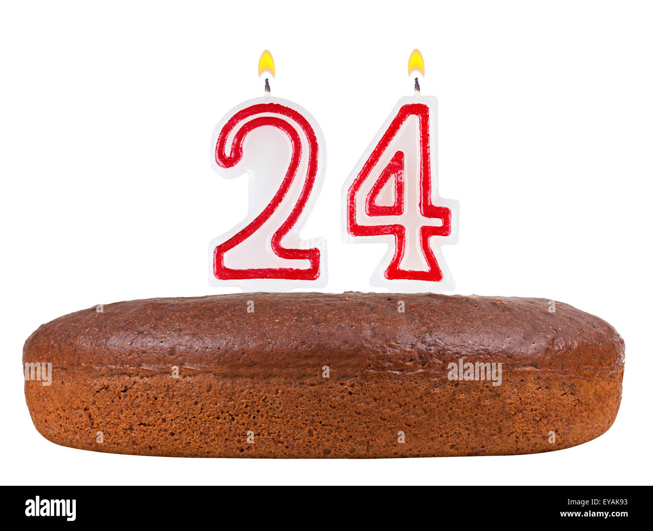 Birthday Cake With Candles Number 24 Isolated On White Background