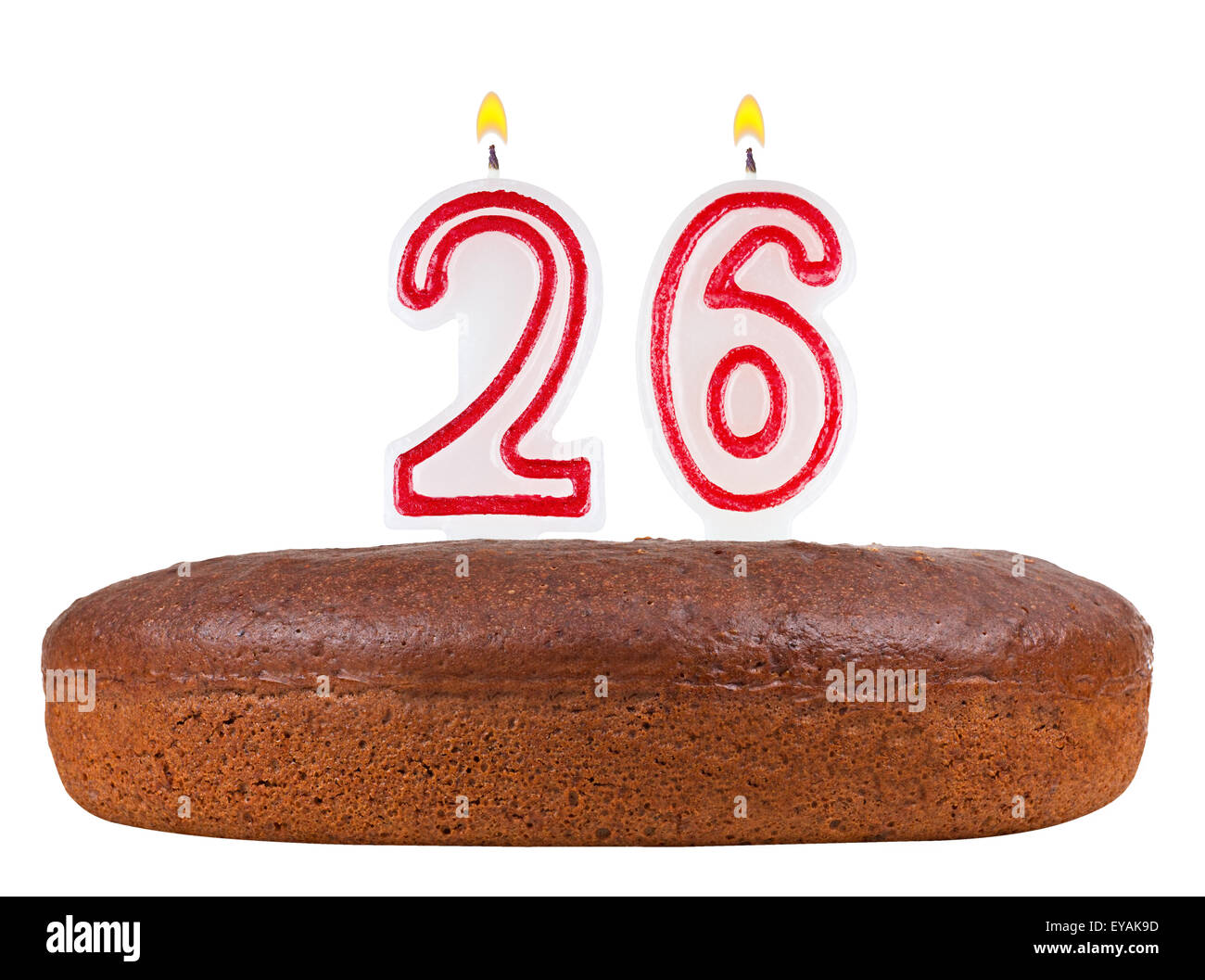 Birthday Cake With Candles Number 26 Isolated On White Background