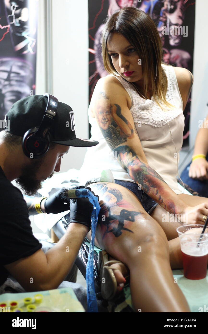 Gdansk, Poland 25th, July 2015 Gdansk Tattoo Konwent 2015 kicks off in Amber Expo hall. During two day long event Stock Photo
