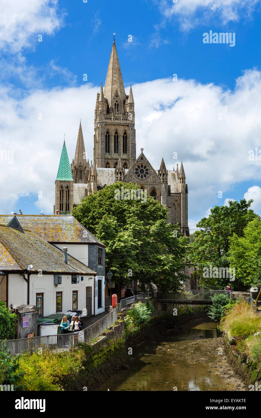 The Cathedral and River Allen from New Bridge Street, Truro, Cornwall, England, UK - Stock Image