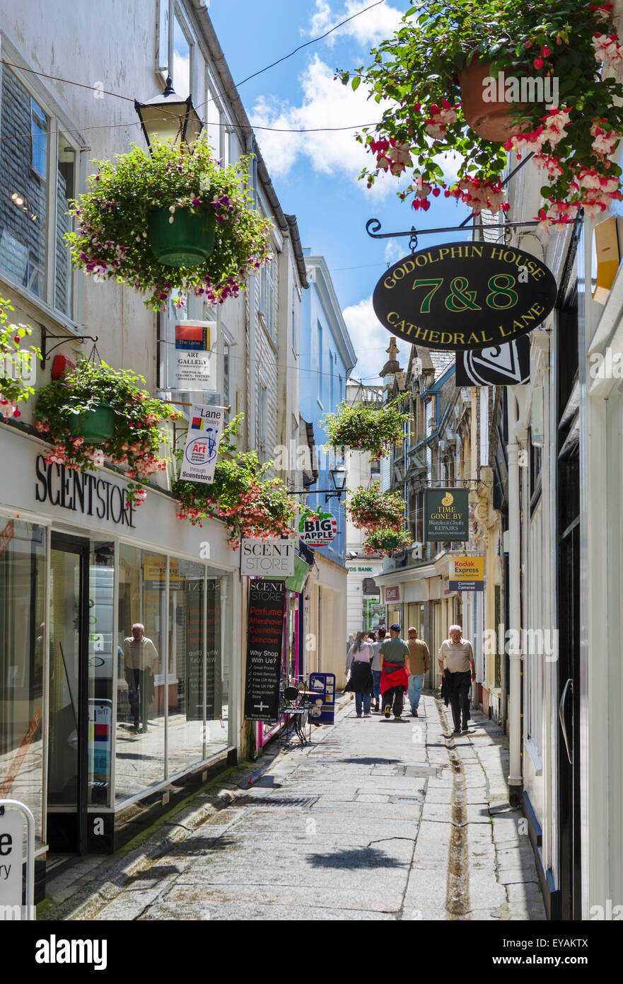 Shops on Cathedral Lane in the city centre, Truro, Cornwall, England, UK - Stock Image