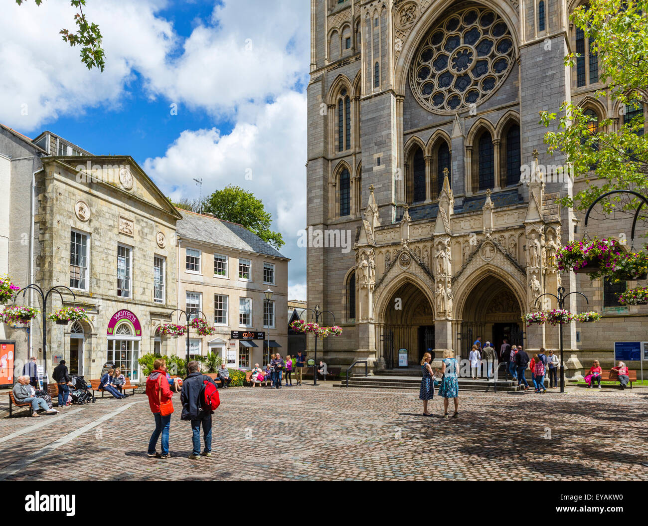 High Cross in front of the Cathedral, Truro, Cornwall, England, UK - Stock Image