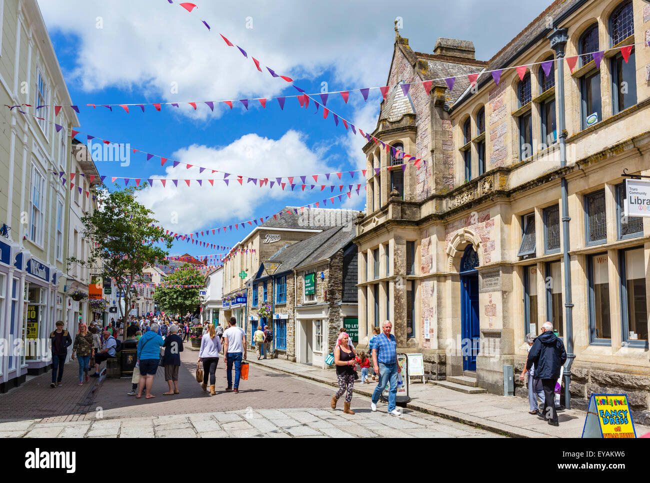 Shops on Pydar Street in the city centre, Truro, Cornwall, England, UK - Stock Image