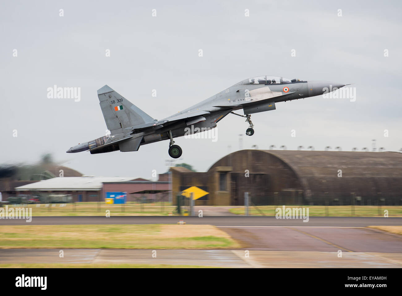 Indian Air Force Sukhoi Su-30MKI 'Flanker' participating in a bilateral air and ground exercise Indradhanush - Stock Image
