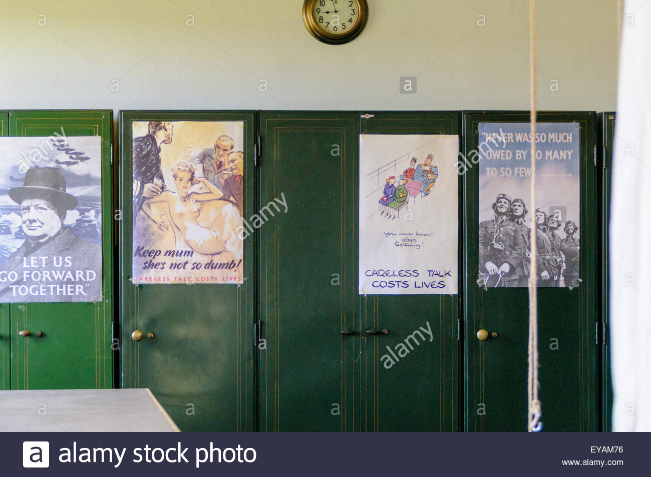 East Fortune, UK. July 25, 2015. WW2 posters in the Parachute Store, part of the Museum of Flight exhibition during - Stock Image