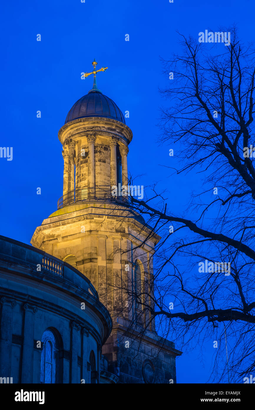 steeple of St Chad's church in Shrewsbury at night - Stock Image