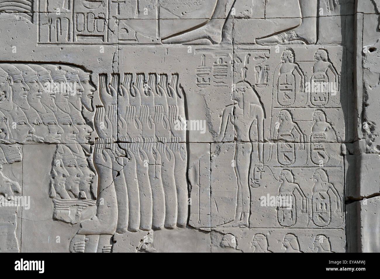 Karnak, Luxor, Egypt. Temple of Karnak sacred to god Amon: the won enemies by Tuthmosis III - Stock Image