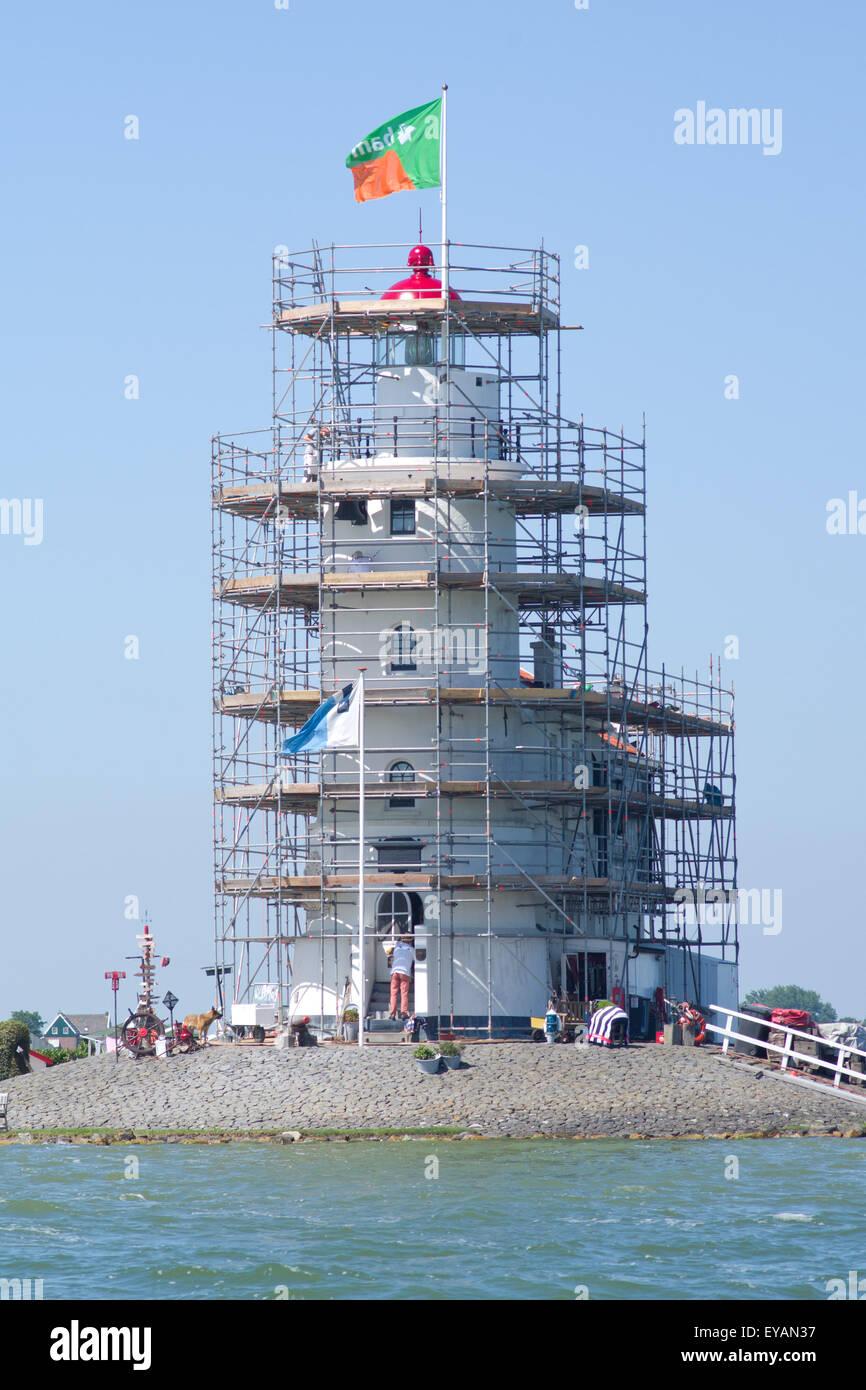 Marken Lighthouse, the Ijsselmeer Holland.  Built in 1839 - Stock Image