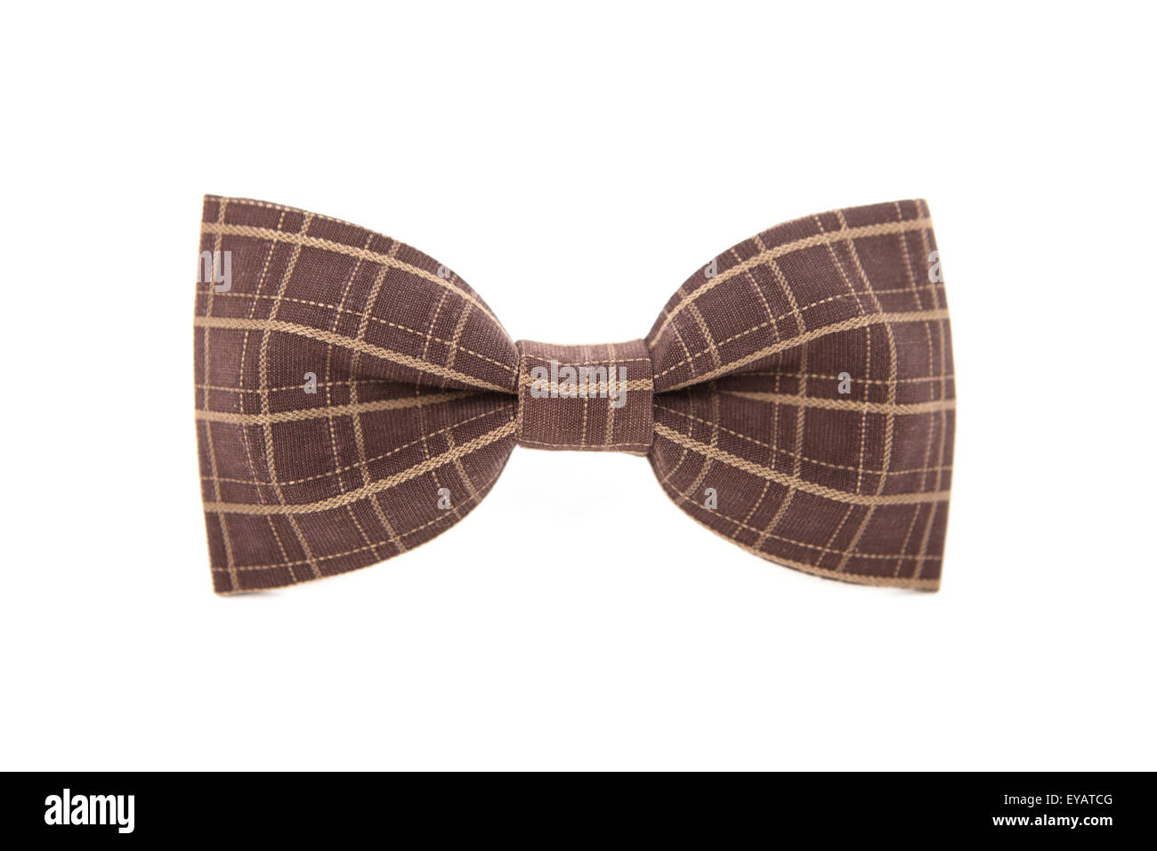 Brown striped men's bow tie isolated on white background. - Stock Image