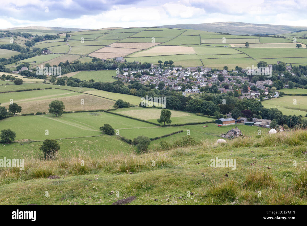 Shining Tor and the Peak district moors above the village of Rainow on the edge of the Cheshire Plain - Stock Image