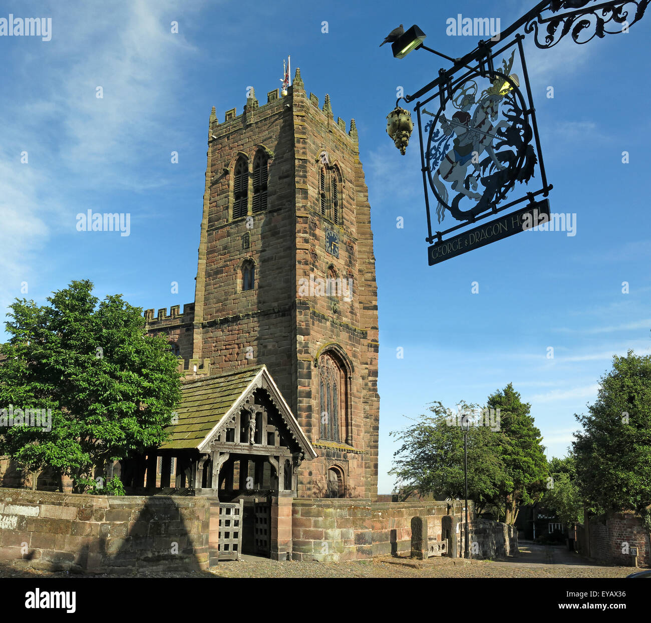 Great Budworth Pub and Parish Church,Northwich,Cheshire,England,UK - Stock Image