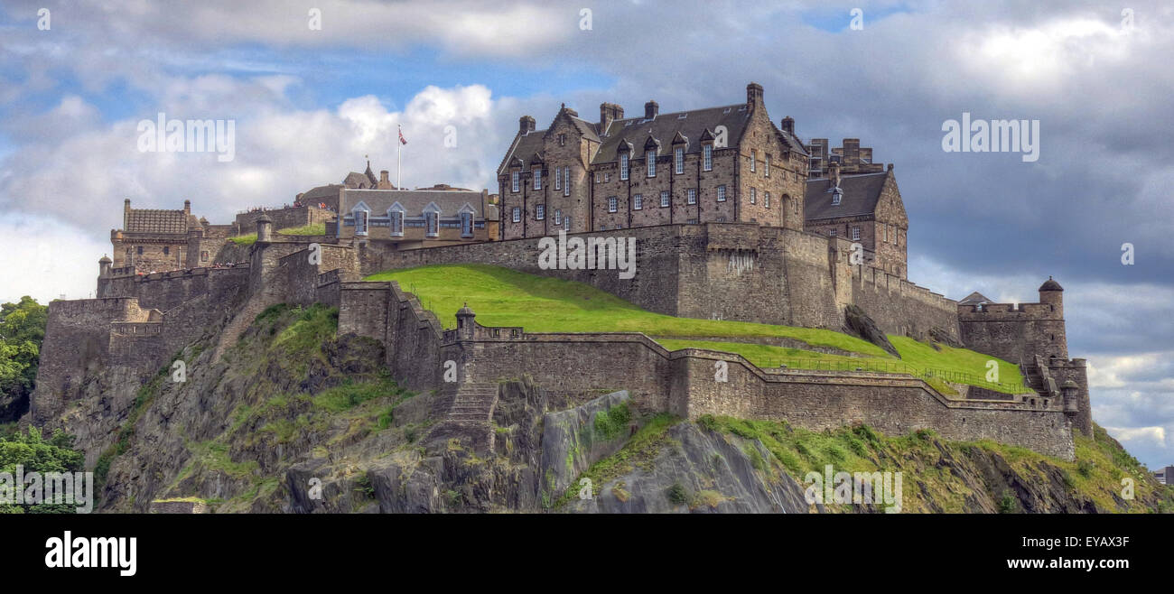 Edinburgh Castle with Dramatic sky, Old Town, Scotland - Unesco world heritage site, UK - In spring wide shot - Stock Image