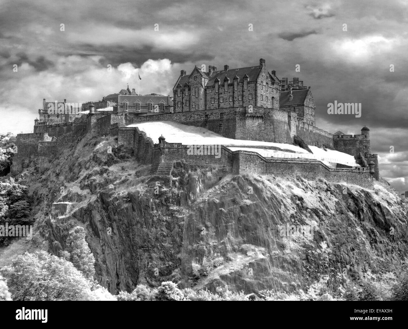 Edinburgh Castle with Dramatic sky, winter Old Town, Scotland - Unesco world heritage site, UK - Stock Image