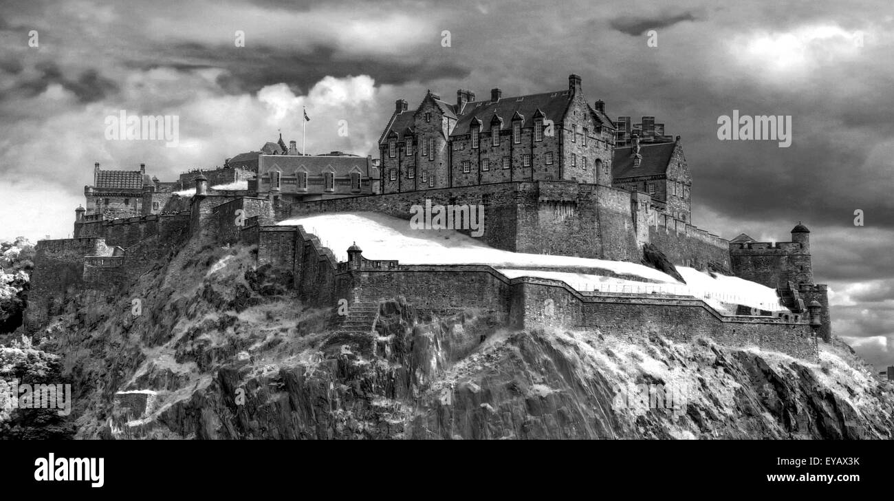 Edinburgh Castle with winter Dramatic sky, Old Town, Scotland - Unesco world heritage site, UK - Stock Image