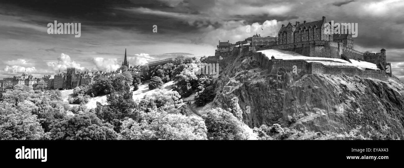 BW Panorama of Edinburgh Castle with Dramatic sky, Old Town, Scotland - Unesco world heritage site, UK - Stock Image