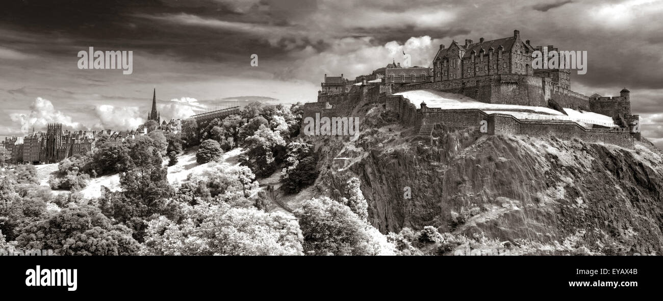 Edinburgh Castle with Dramatic sky, Old Town, Scotland - Unesco world heritage site, UK - Winter BW - Stock Image