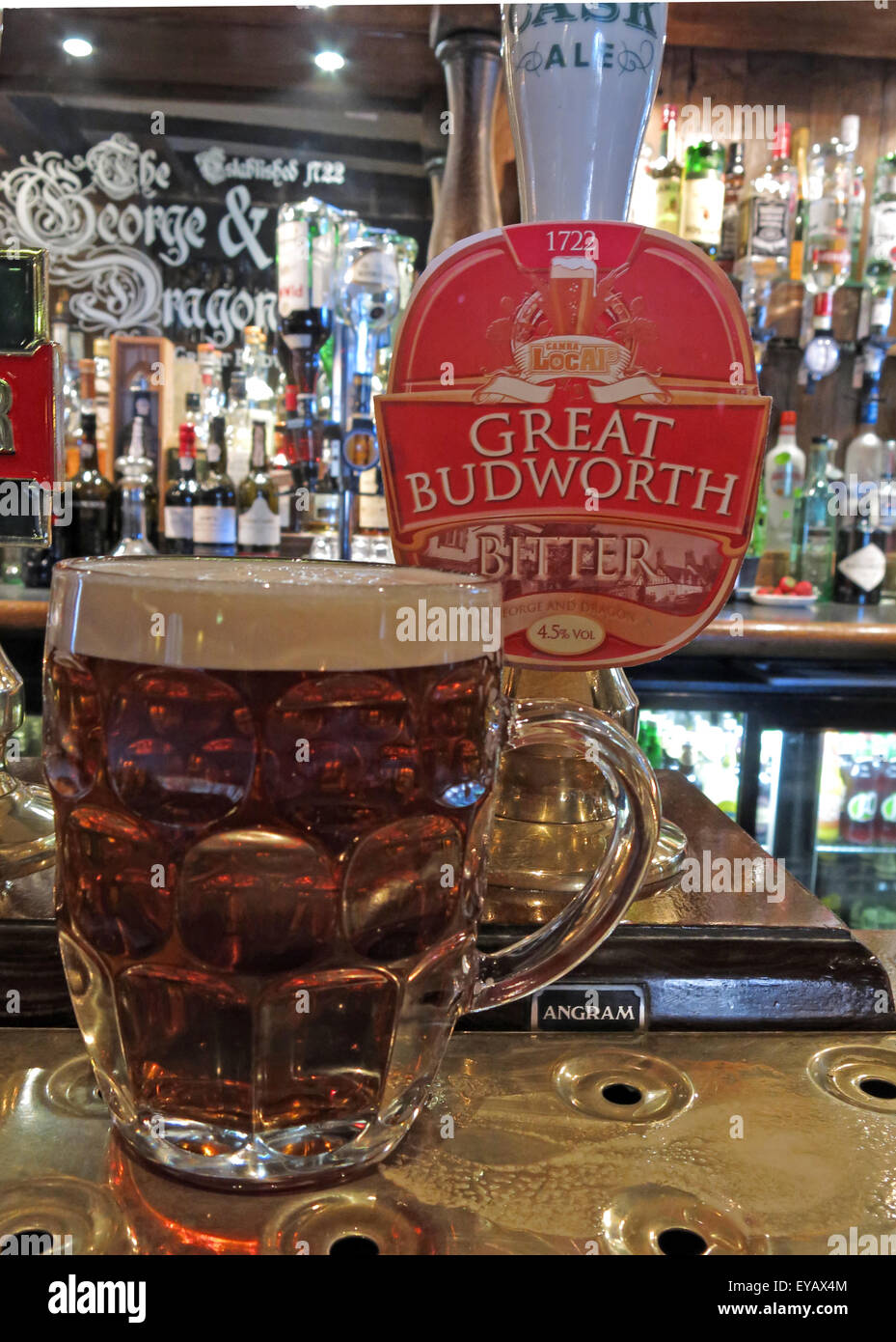 Pint of traditional ale in The George and Dragon Pub,Great Budworth Village,Cheshire,England,UK Stock Photo
