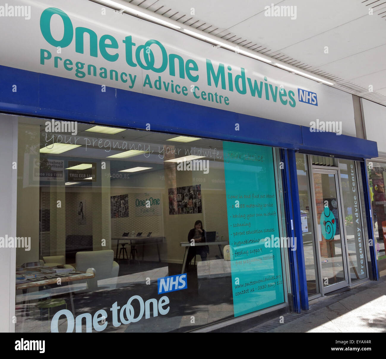 One To One Midwives Pregnancy Advice Centre,Warrington, Sankey St, Cheshire, England, UK - Stock Image