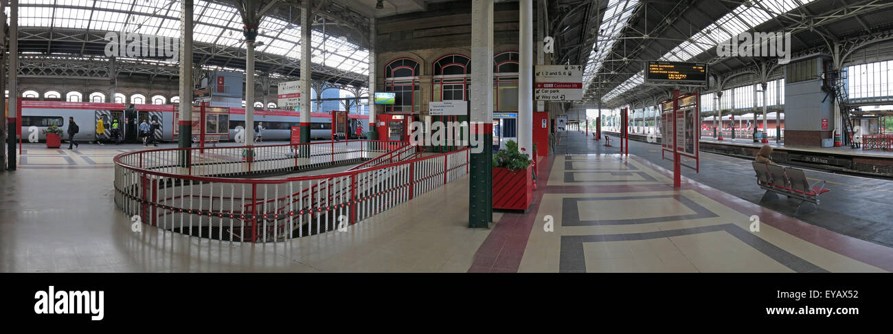 Preston Railway Station Panorama, Lancashire, England, UK with Virgin franchise train - Stock Image