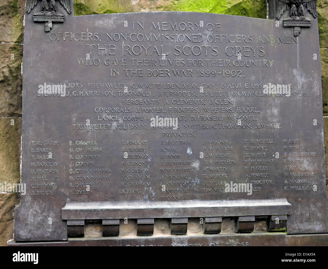 Plaque in memory of the Royal Scots Greys, Princes St, Edinburgh, Scotland, UK - Stock Image