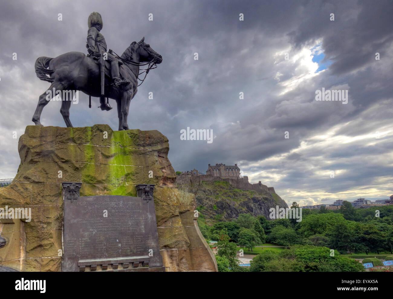 Statue/Plaque in memory of the Royal Scots Greys, Princes St, Edinburgh, Scotland, UK Stock Photo