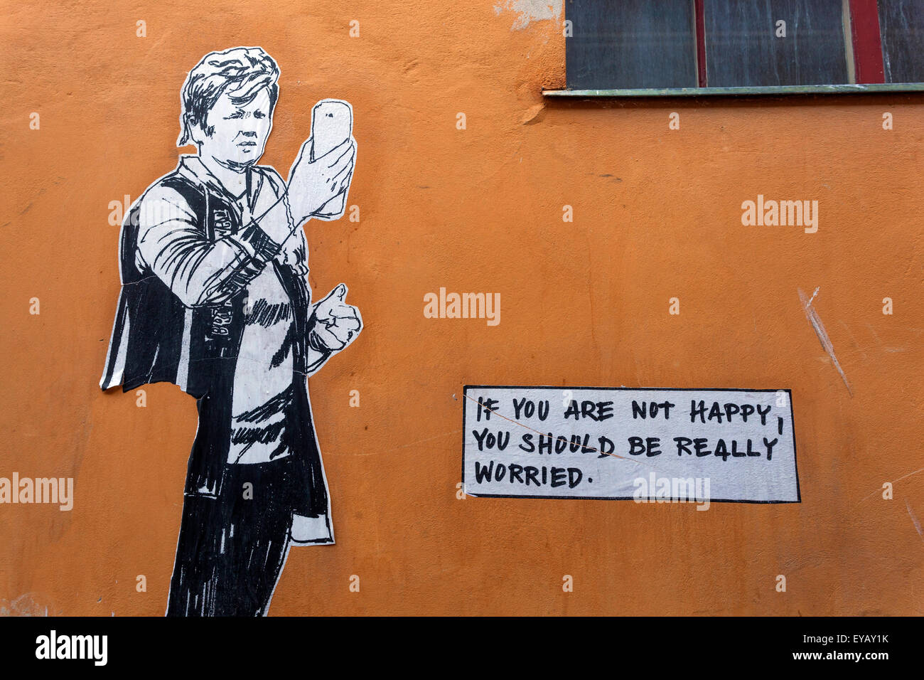 If You Are Not Happy You Should Be Really Worried. Street Art Cesky Krumlov, Czech - Stock Image