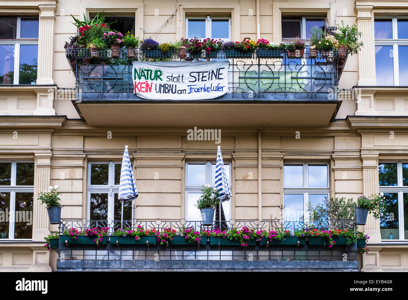 Berlin Apartments With Balconies And Sign Protesting Riverside  Re Development Next To Landwehrkanal, Kreuzberg