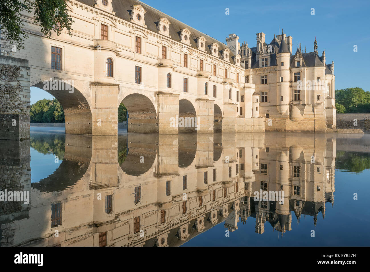 Chenonceau castle built over the cher river loire valleyfranceat dawn
