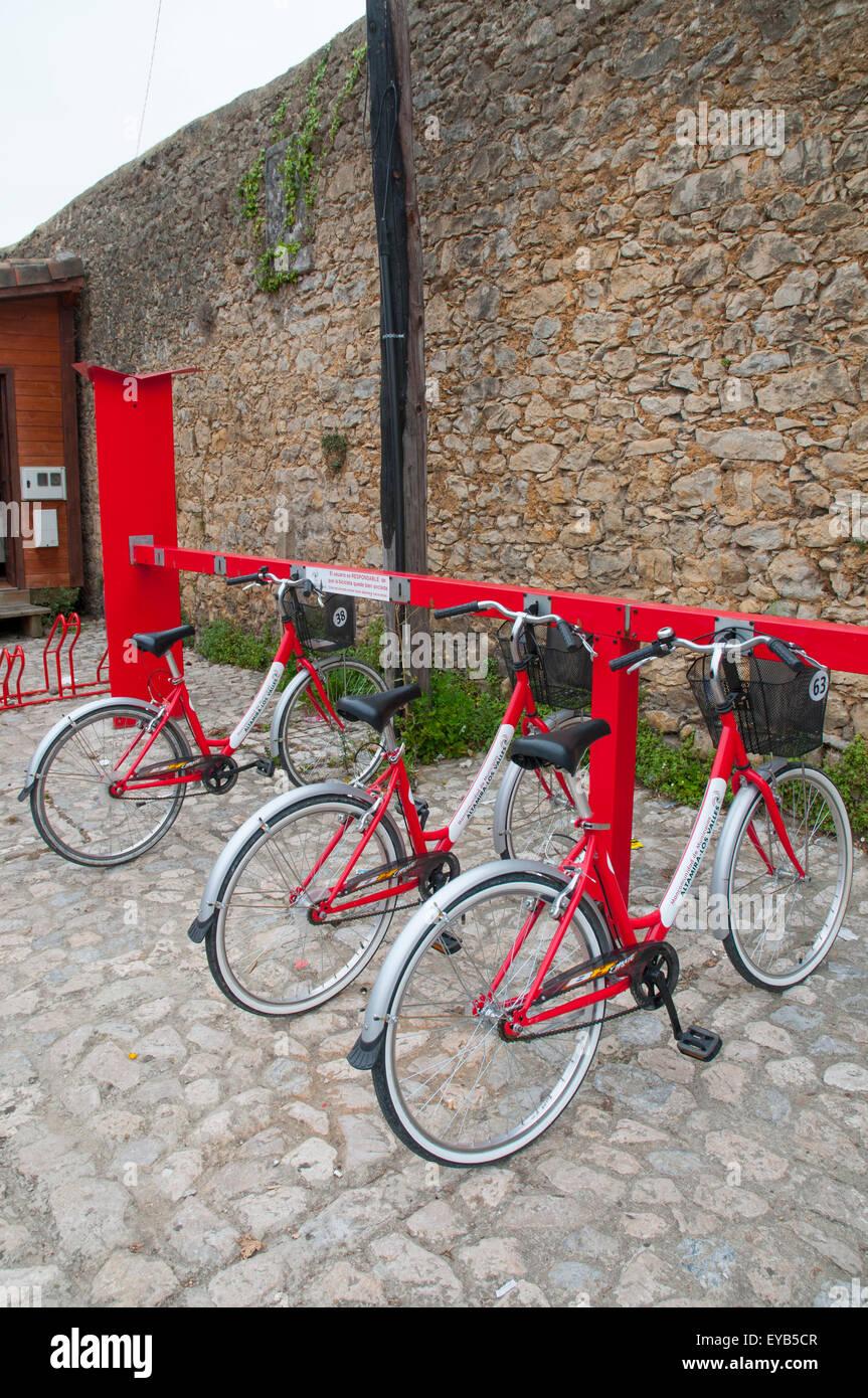 Bike parking. Santillana del Mar, Cantabria, Spain. - Stock Image