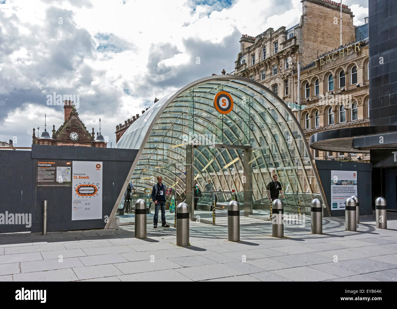 The new Glasgow Subway entrance and St Enoch Shopping Centre at St Enoch Square in Glasgow Scotland - Stock Image
