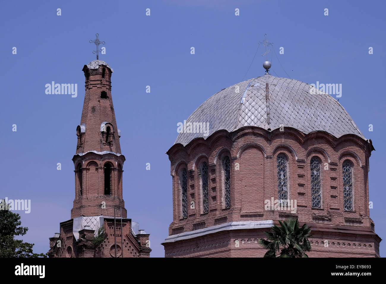 Bell tower and dome of the Alexander Nevsky Russian Orthodox Church in the city of Ganja Azerbaijan - Stock Image