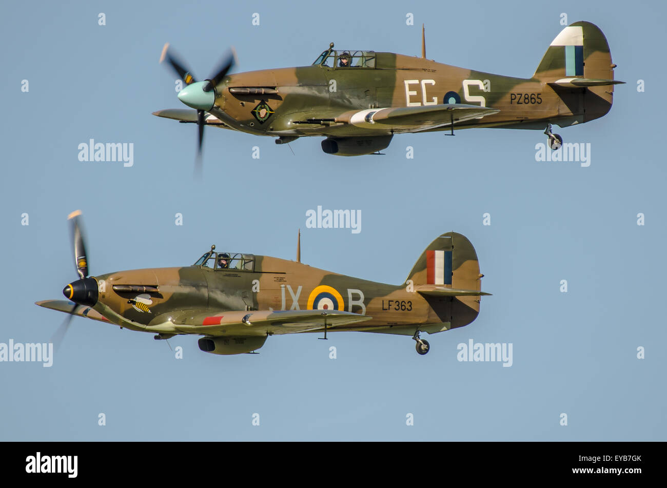 Two Hawker Hurricanes of the RAF's Battle of Britain Memorial Flight - Stock Image