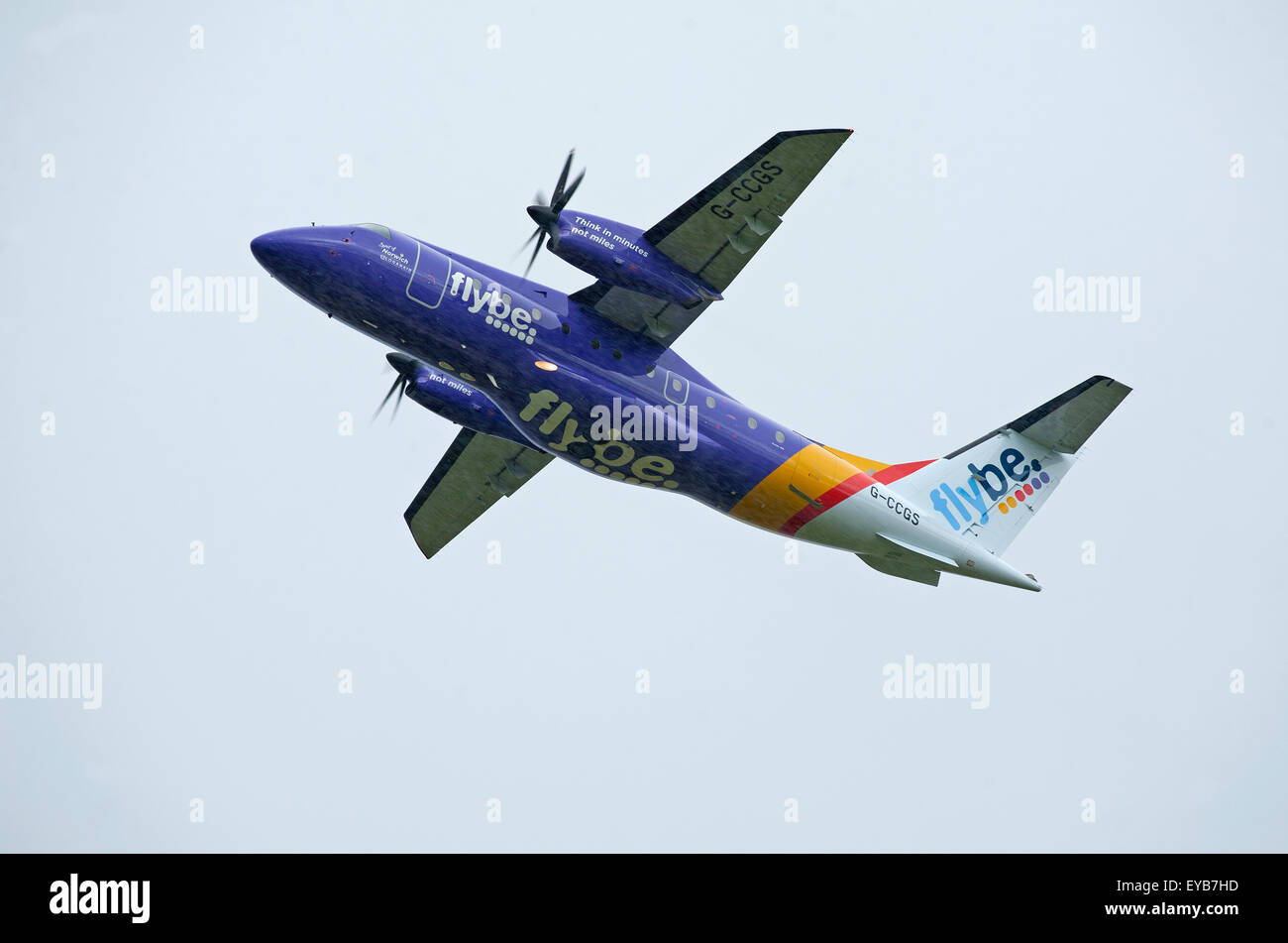 FlyBe operated Dornier 328-110 Passenger Airliner (G-CCGS) at Inverness Scotland.  SCO 10,011. - Stock Image