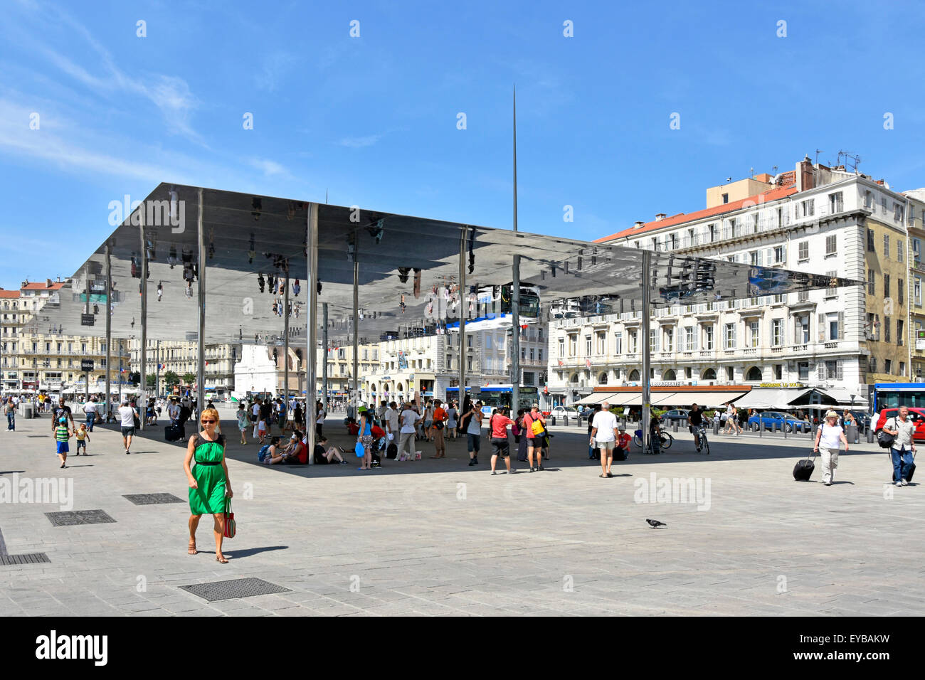 Marseille France Vieux Port metro station sign & Ombriere mirror with people & image reflections under Norman - Stock Image
