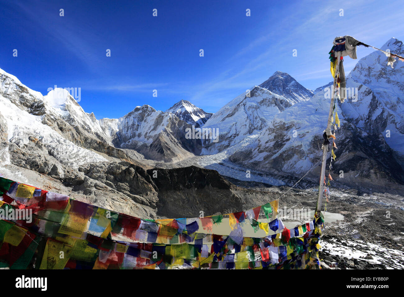 Summit of Mount Everest 8848M, Everest base camp trek, Sagarmatha National Park, UNESCO World Heritage Site, Solu - Stock Image