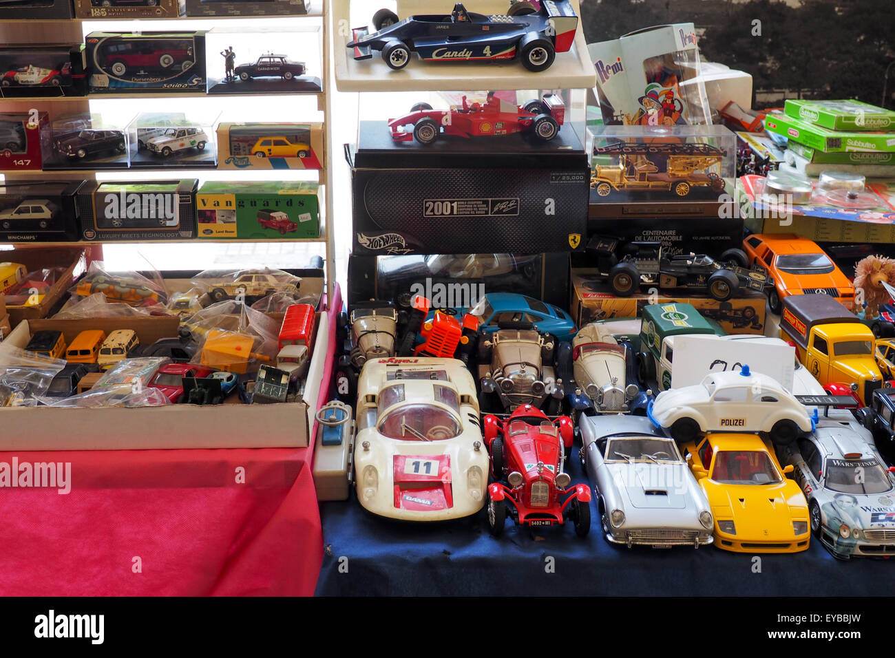 Collection of model cars on a table. - Stock Image