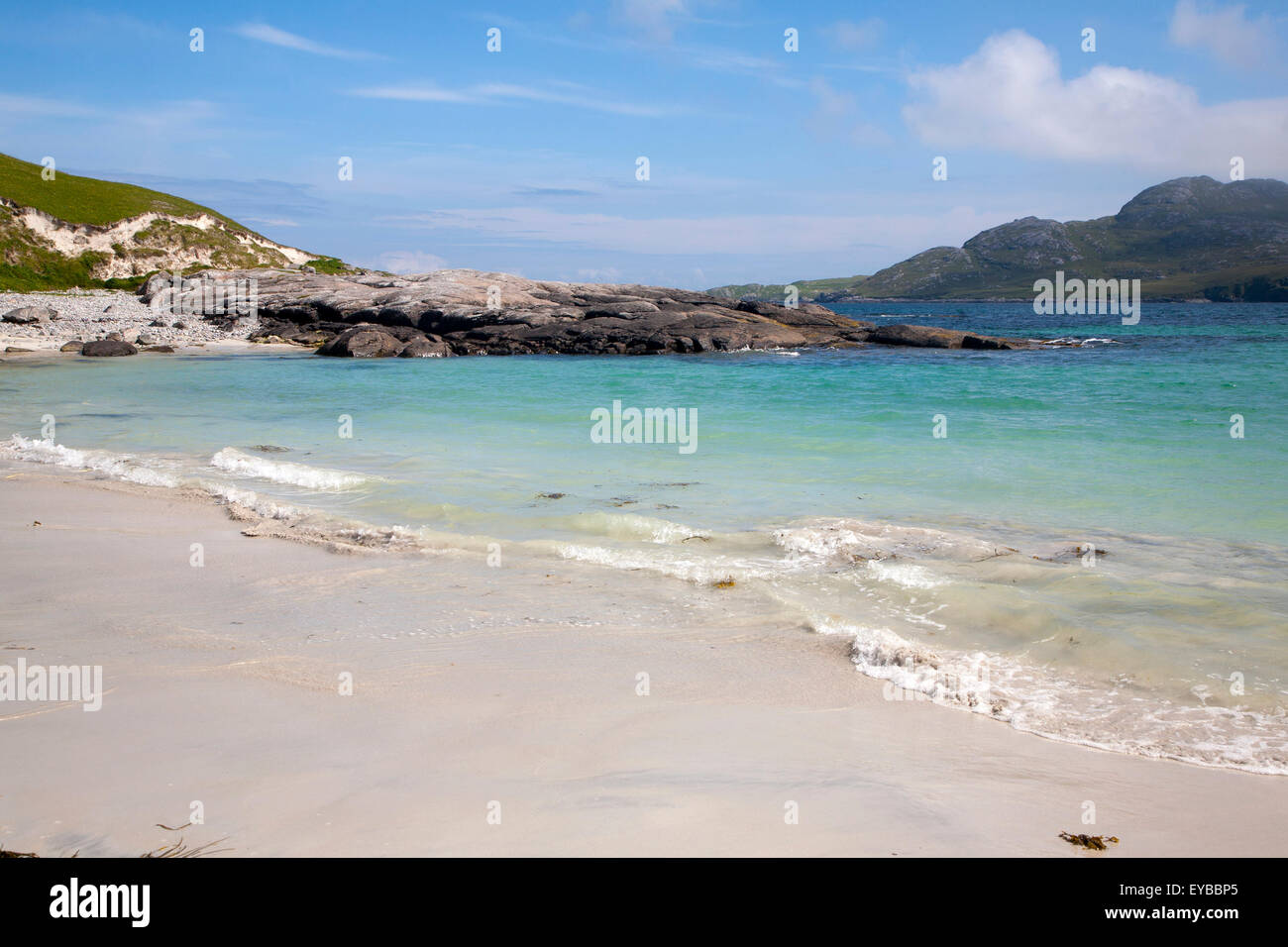 Sandy beach at Bagh a Deas, South Bay, Vatersay island, Barra, Outer Hebrides, Scotland, UK - Stock Image