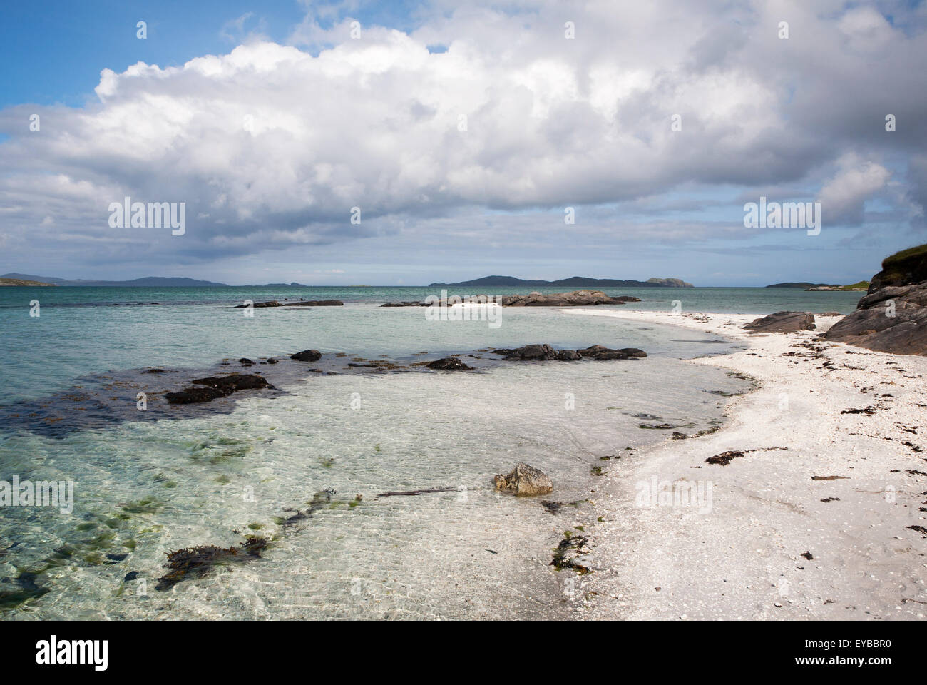 White sand at Traigh Mhor beach, the Cockle Strand, Barra, Outer Hebrides, Scotland, UK - Stock Image