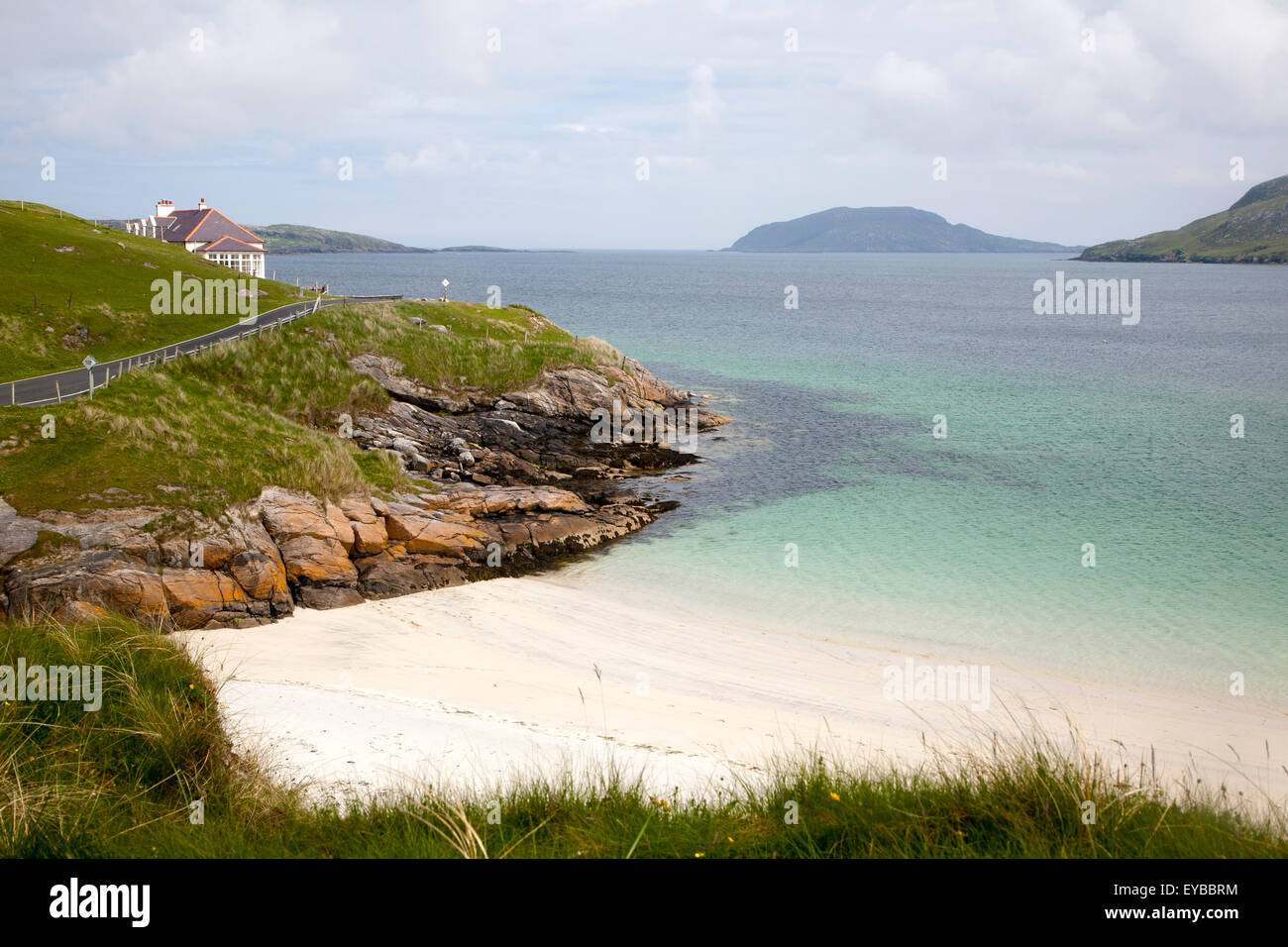 Sandy beach and aquamarine sea at Vatersay Bay, Barra, Outer Hebrides, Scotland, UK - Stock Image