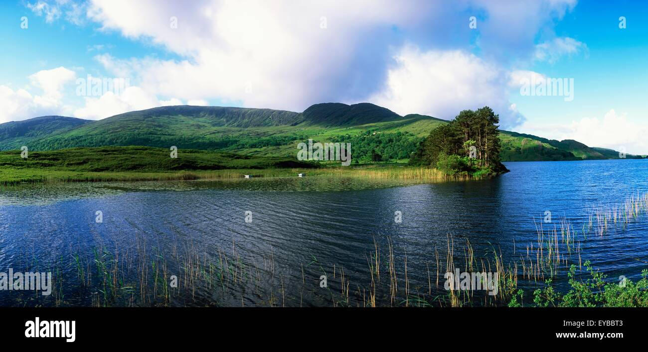 Clonee Loughs; Co Kerry, Ireland; Lake With Land In The Distance - Stock Image
